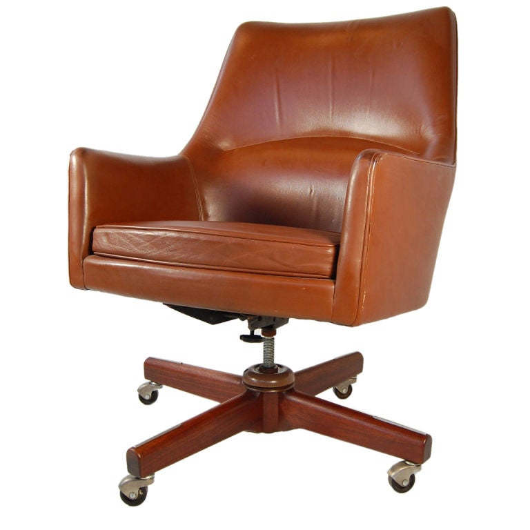 XXX Risom Leather Executive Armchair