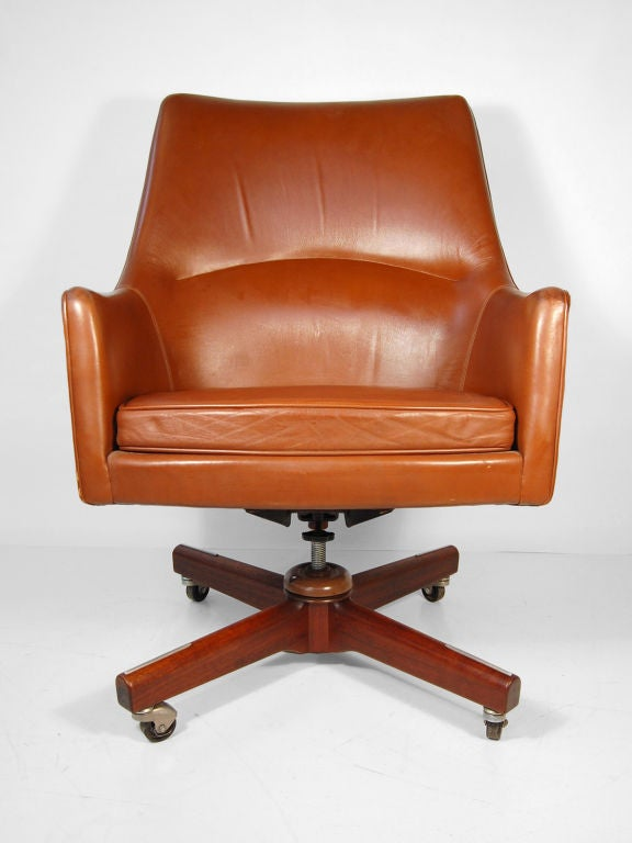 Jens Risom High Back Leather Executive Desk Chair At 1stdibs