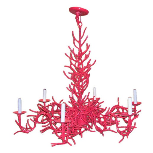 Red Coral Chandelier With 3 Lights: 1960's Coral Iron Chandelier. At 1stdibs