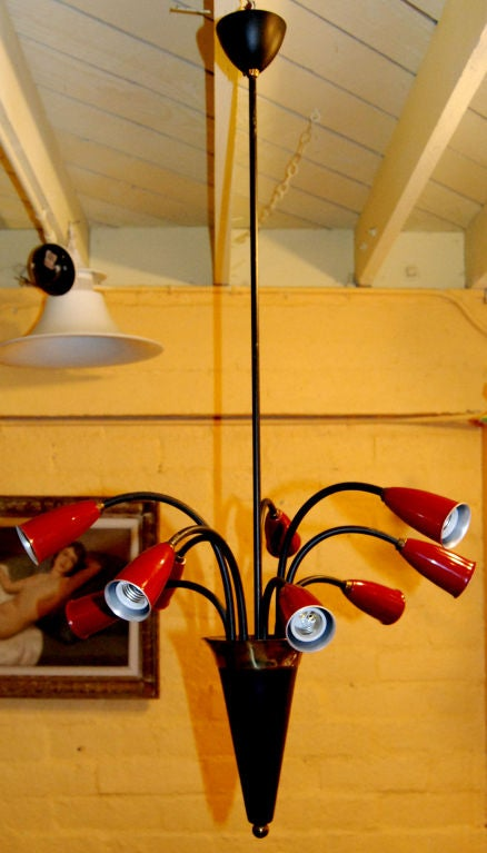 Eight-light Italian chandelier black and red finish.