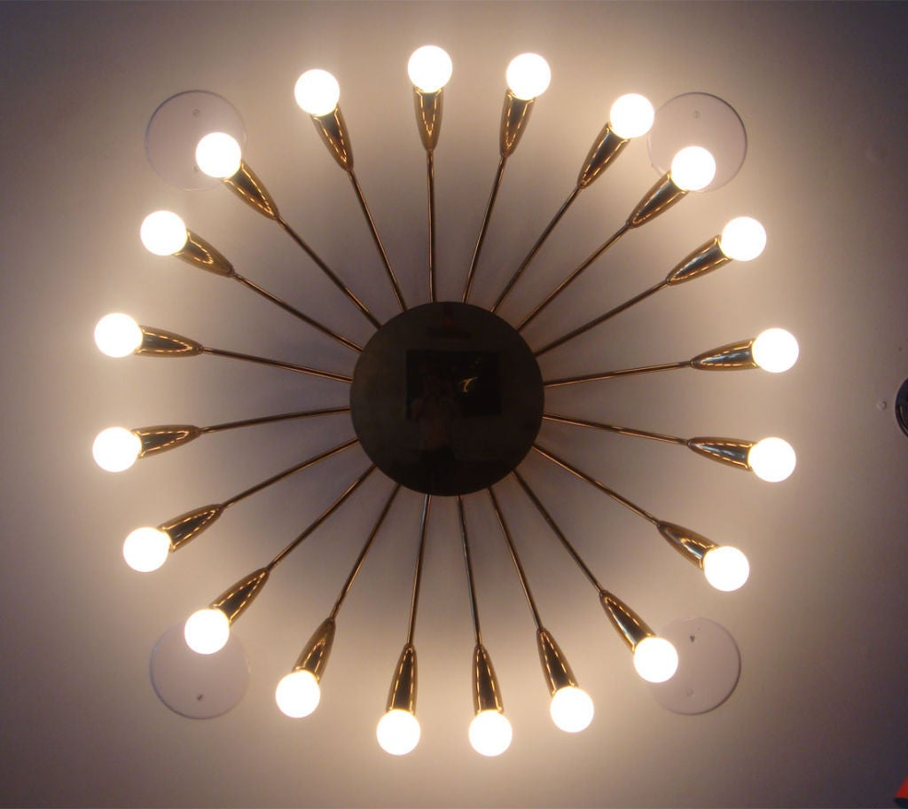 Twenty Arm Brass Light Fixture image 2