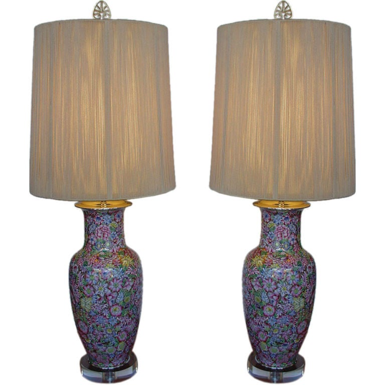 Pair of Chinese Painted Enamel Millefleurs Lamps on Lucite Bases