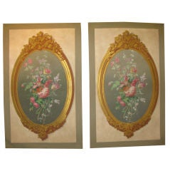Pair of Victorian era wallpaper panels
