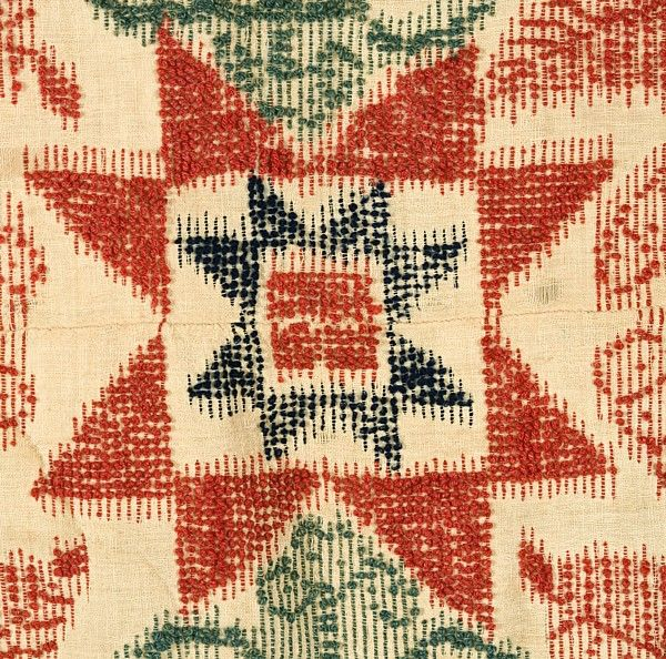Extremely Rare Weftwork Bedspread, Mid-19th Century For