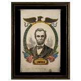 ABRAHAM LINCOLN MEMORIAL BANNER WITH A DRAMATIC PORTRAIT IMAGE,
