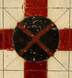 CHRIMSON RED & BLACK PARCHEESI GAME BOARD ON OYSTER WHITE GROUND thumbnail 2