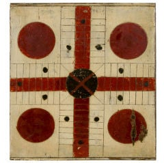 CHRIMSON RED & BLACK PARCHEESI GAME BOARD ON OYSTER WHITE GROUND thumbnail 1