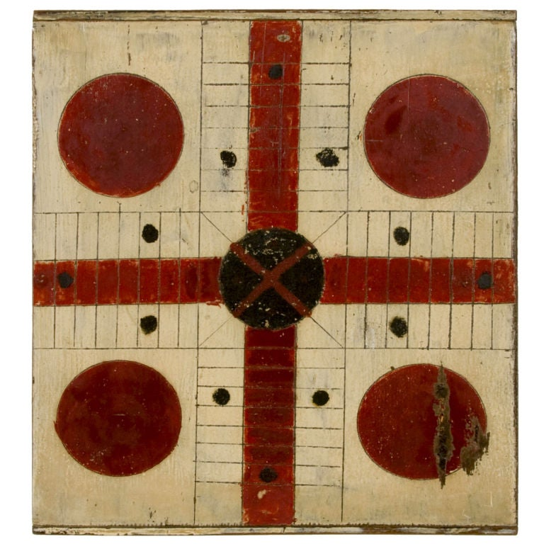 CHRIMSON RED & BLACK PARCHEESI GAME BOARD ON OYSTER WHITE GROUND