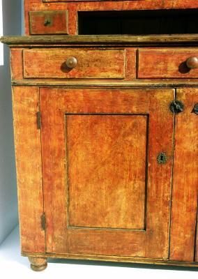 Pennsylvania Dutch Cupboard In Bittersweet Orange Paint At