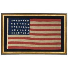 38 AMERICAN FLAG, HAND-SEWN STARS, 1876-1889, COLORADO STATEHOOD