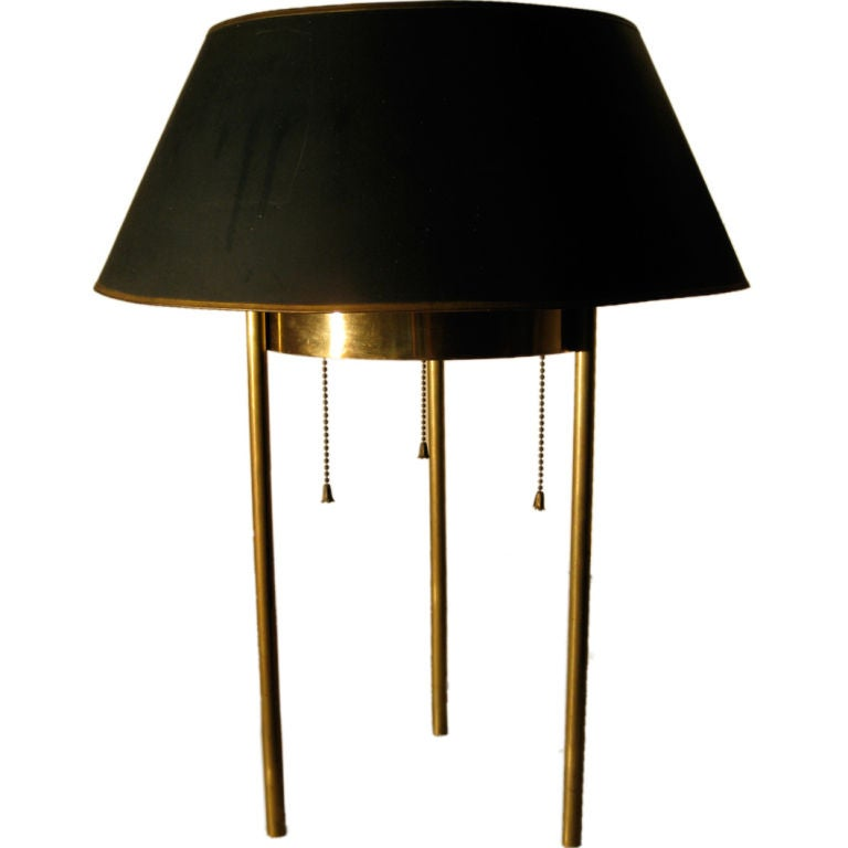 Rare benjamin baldwin three legged brass lamp for hansen for Baldwin brass floor lamp shades