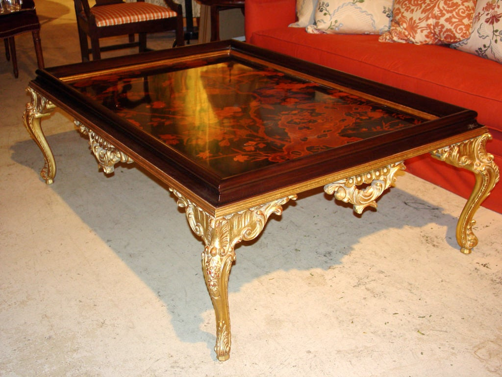 Gilt Wood Coffee Table With Inlaid Top At 1stdibs