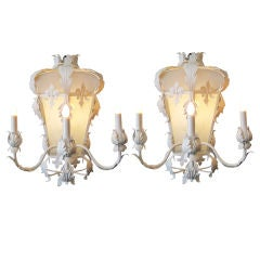 Pair of White Gesso Sconces