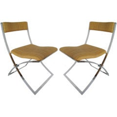 Pair of Italian Chrome and Rattan Chairs