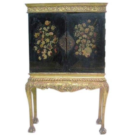 Hand Painted Cabinet with Gilt Base