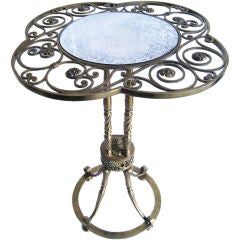 French Hand Made Brass Table with Mirror Top