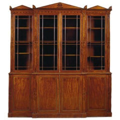 Regency mahogany breakfront bookcase, by George Oakley.