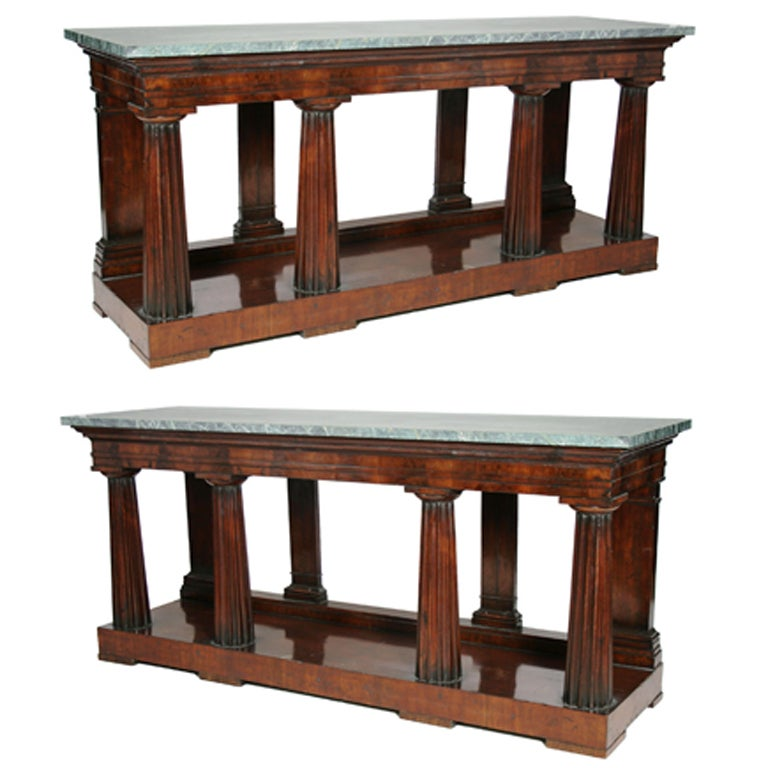 Pair of Regency Marble Topped Mahogany Console Tables at  : y339571 from www.1stdibs.com size 768 x 768 jpeg 62kB