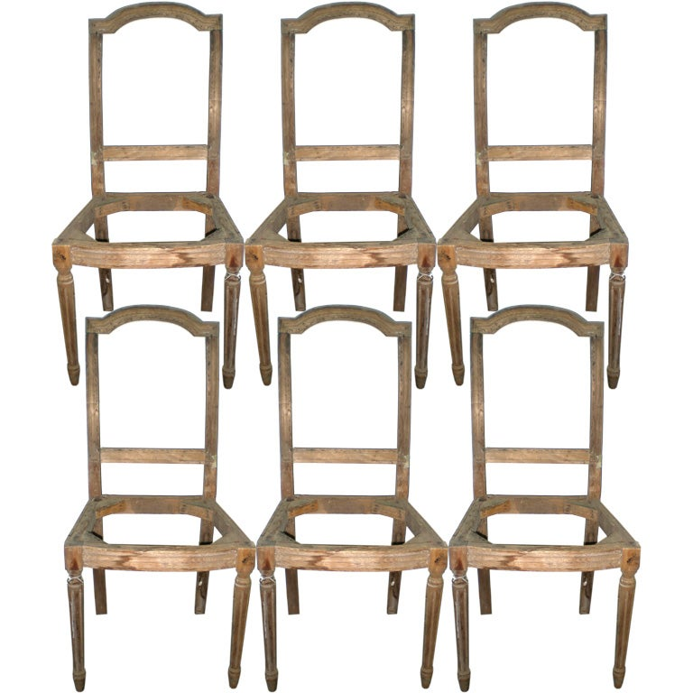 Set Of Six 19th C Louis XVI Style Dining Chair Frames At