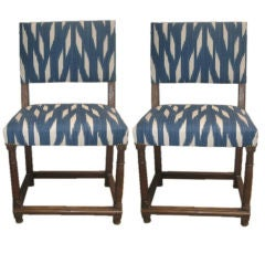 Pair of 18th c. French Side Chairs in New Designer Ikat Fabric