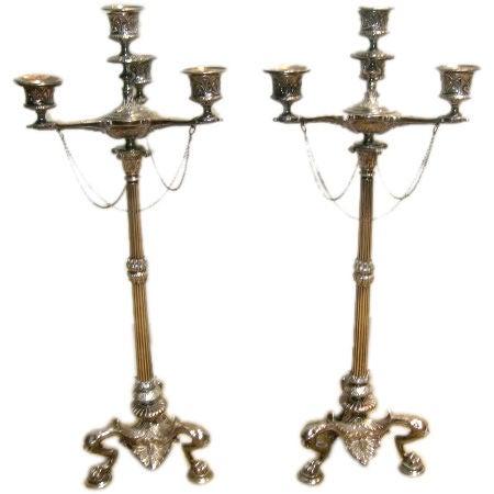 Pair of Regency Style Silverplate Candelabras