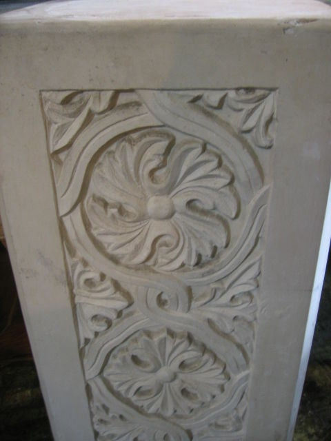 Pair of Plaster Pedestals with Gothic Details 3