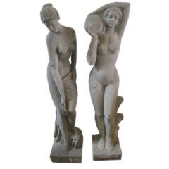 Large Pair of Stone Sculptures of Women Bathing