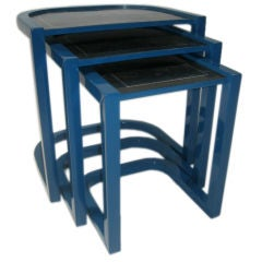 Nesting Tables in Lacquer with Inset Marble Tiles