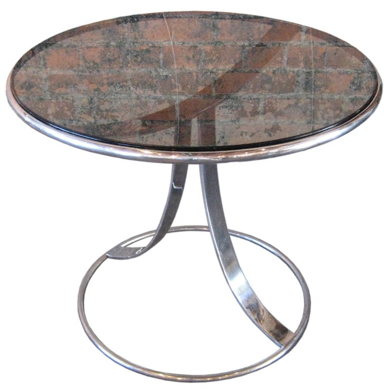 Chrome occasional table with smoked glass top by steelcase for Glass top occasional tables