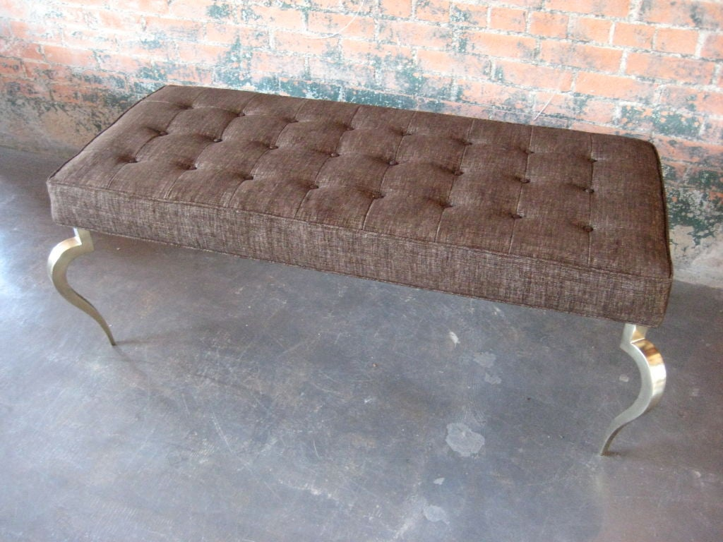 Unknown Bench with solid brass curved legs For Sale