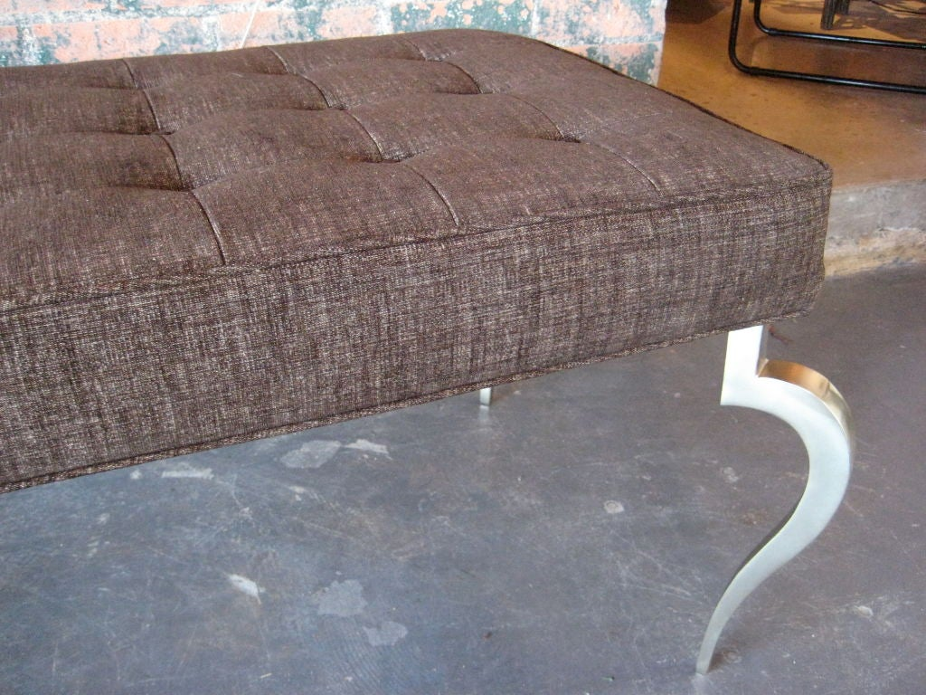 Mid-20th Century Bench with solid brass curved legs For Sale