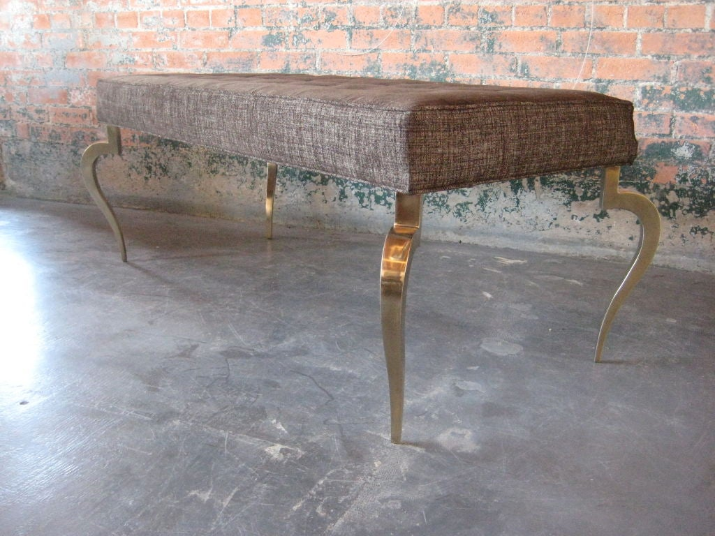 Bench with solid brass curved legs For Sale 5
