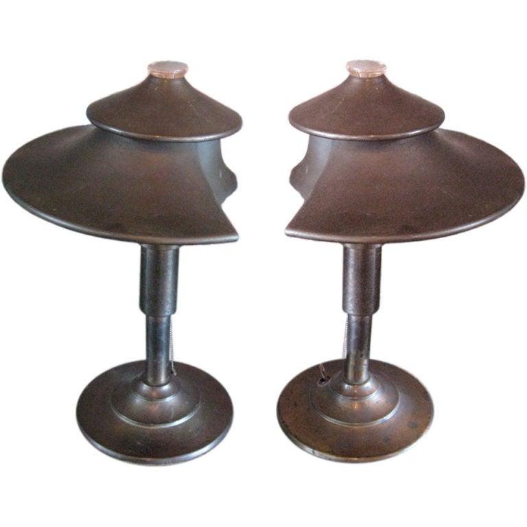 Pair of rare table lamps by Walter Von Nessen