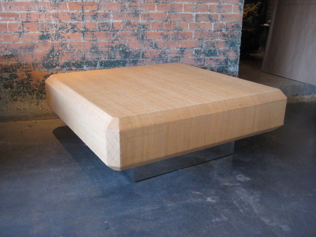 Raffia cloth covered coffee table by karl springer at 1stdibs for Raffia coffee table