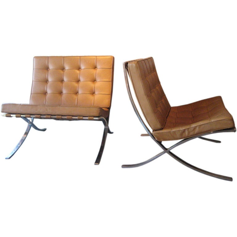 pair of early barcelona chairs by mies van der rohe at 1stdibs. Black Bedroom Furniture Sets. Home Design Ideas