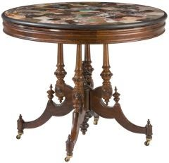 Pietre Dure Specimen Marble Top Table