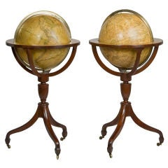 Pair of English Regency Standing Globes by J & W Cary
