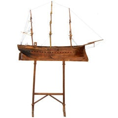 Large American Folk Art Ship Model