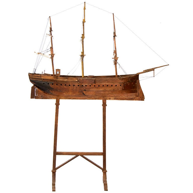 Large American Folk Art Ship Model For Sale