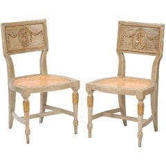 Pair of Classical Italian painted sidechairs