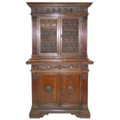 Italian Renaissance Style walnut Bookcase Cabinet