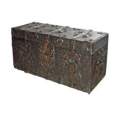 Baroque 17th century Iron Bound Leather Chest or Coffer