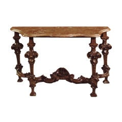 Italian Baroque 18th century Walnut and marble top Console Table