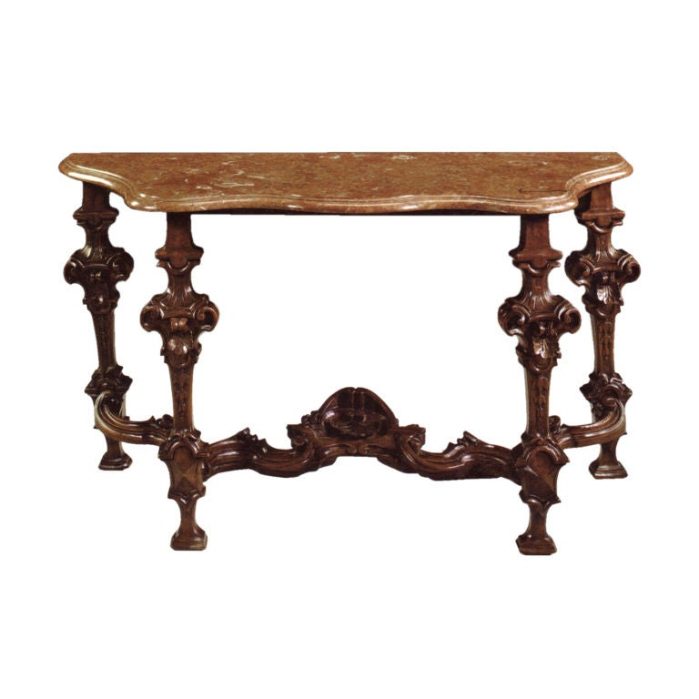 italian baroque 18th century marble top console table for sale at 1stdibs. Black Bedroom Furniture Sets. Home Design Ideas