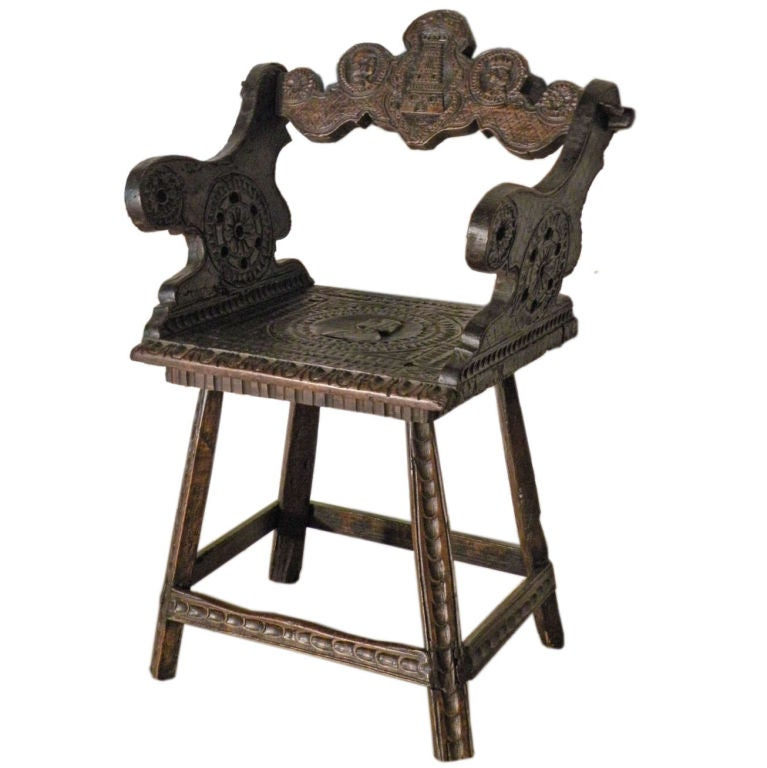 Rustic 19th Century Carved Alpine Armchair For Sale