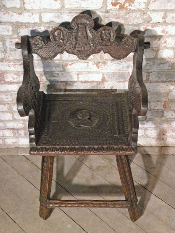 Renaissance Revival Rustic 19th Century Carved Alpine Armchair For Sale