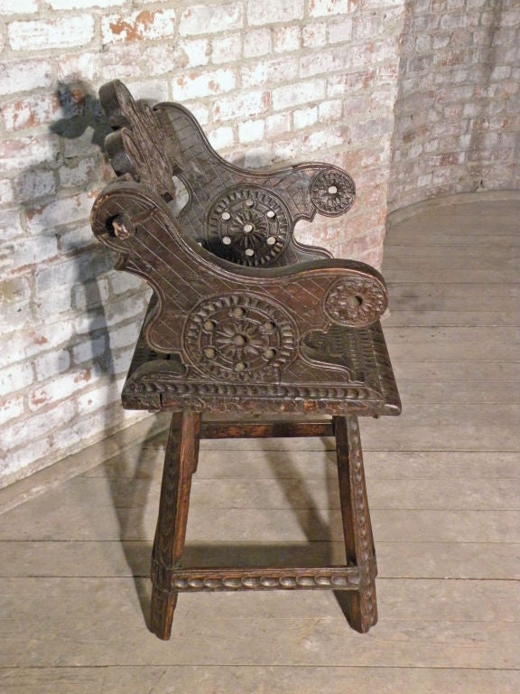 Austrian Rustic 19th Century Carved Alpine Armchair For Sale