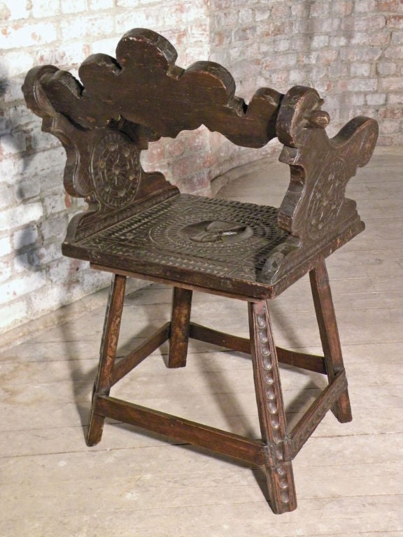 Rustic 19th Century Carved Alpine Armchair In Good Condition For Sale In Troy, NY