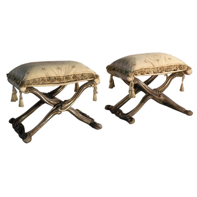 Pair of Italian Rococo Style Gilt Pliants or Stools