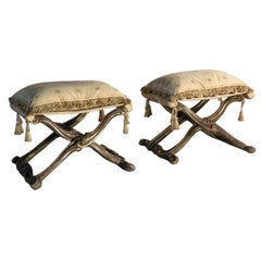 Pair of Italian Early 19th Century Rococo Style Gilt Pliants or Stools